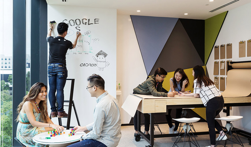 Six people in a room, collaborating. One person is standing on a ladder and writing the word Google - Absolunet eCommerce Trends