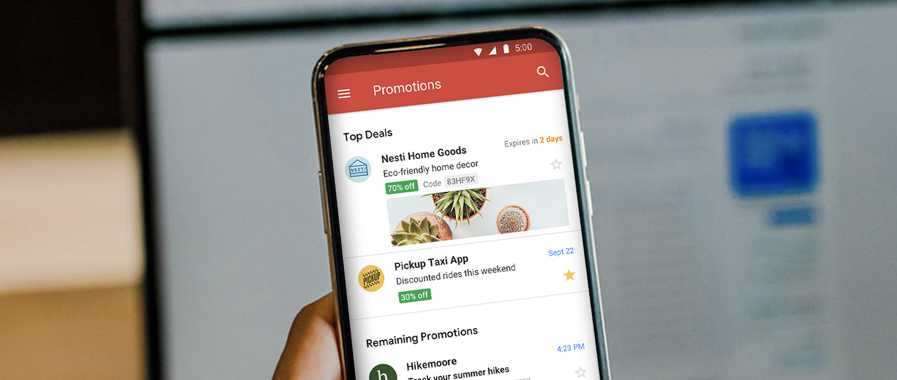 promotions in gmail mail box